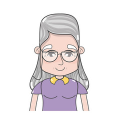 old woman with hairstyle and casual clothes vector image vector image