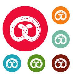 pretzel icons circle set vector image