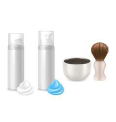 shaving gel foam bottles shaving brush vector image vector image