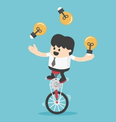 Businessman cycling juggling throwing a lamp vector image