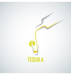 tequila shot bottle glass menu background vector image vector image