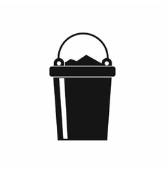 Bucket full of garbage icon simple style vector image