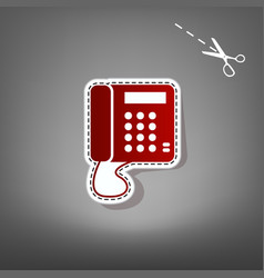 communication or phone sign red icon with vector image vector image
