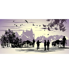 Tourists walk in the park near the ancient castle vector image vector image