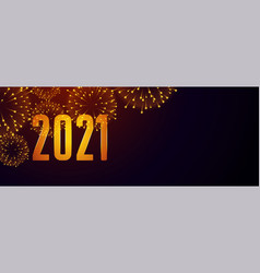 2021 happy new year fireworks banner with text vector
