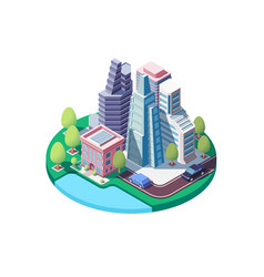 3d isometric city landscape with street urban vector image