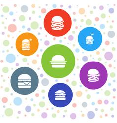 7 bun icons vector image
