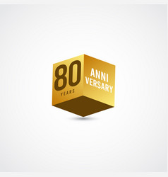 80 years anniversary celebration gold 3 d label vector