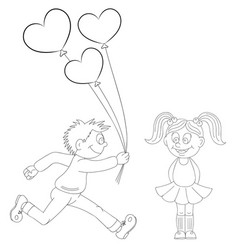 a cartoon boy running with a bunch of flowers and vector image
