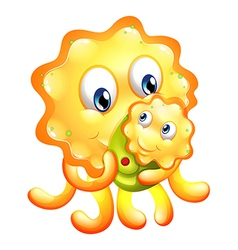 A yellow monster with a child vector image