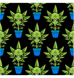alien plant seamless pattern alien smoking weed vector image