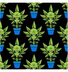 Alien plant seamless pattern smoking weed vector