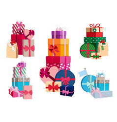 array gifts in different colorful packages vector image
