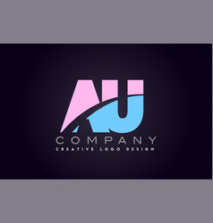 Au alphabet letter join joined letter logo design vector