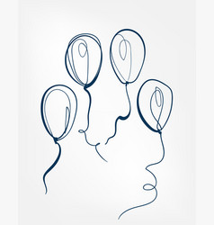 balloon one line isolated design element vector image