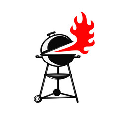 bbq grill on white background design element vector image