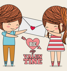 be my valentine greeting card couple with envelope vector image