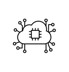 brain processor cloud network icon vector image