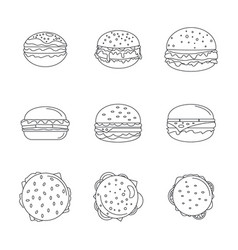 Burger sandwich bread bun icons set outline style vector