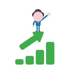 businessman character pointing up and standing on vector image