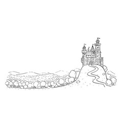 cartoon drawing or fantasy landscape with vector image