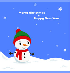 cheerful snowman in a hat vector image