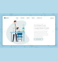 chemical laboratory flat landing page template vector image