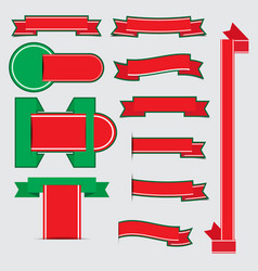 christmas ribbon banners with shadow vector image