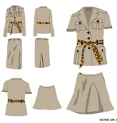 Collection of dress safari style vector