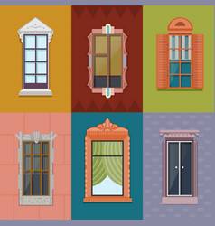 Colorful windows flat collection vector