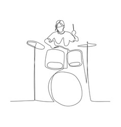 continuous one line woman playing on drums kit vector image