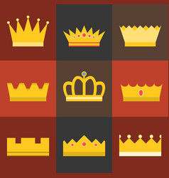 Crown flat design set 4 vector