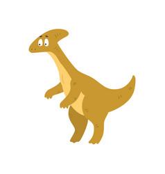 cute cartoon parasaurolophus dinosaur prehistoric vector image
