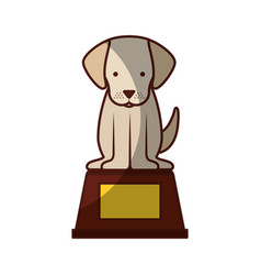 cute dog mascot in the podium vector image