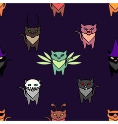 Cute Hallowen cats on the purple background vector