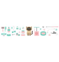 Cute kawaii siamese cat stuff line set paw print vector