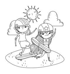 Cute little kids mounted in skateboard in the vector