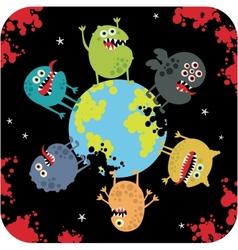 Cute monsters apocalypse vector