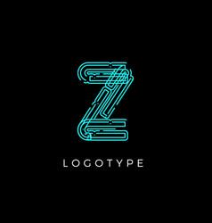 Cyber letter z for digital technology logo concept vector