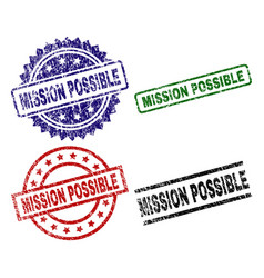 Damaged textured mission possible stamp seals vector