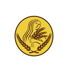 Demeter Harvest Wheat Grain Oval Retro vector image
