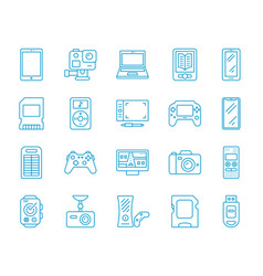 device simple color line icons set vector image