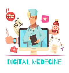 Digital medicine cartoon composition vector