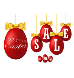 easter egg sale 3d happy easter hanging red eggs vector image