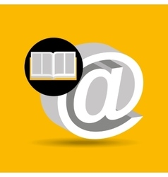 Education opened book mail icon vector