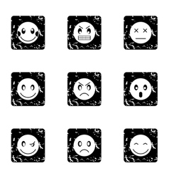 Emoticons icons set grunge style vector