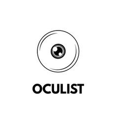 Eye icon oculist lettering oculist badge label vector