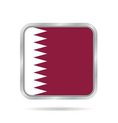 flag of qatar shiny metallic gray square button vector image