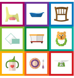 Flat icon kid set of playground bathtub baby vector