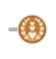Flat icon of cappuccino cup with latte art vector